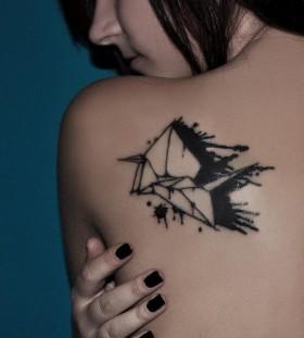 Wonderful black origami tattoo on shoulder
