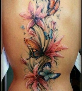 Wonderful flowers interesting design tattoo