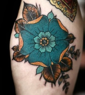 Wonderful yellow and blue flowers tattoos