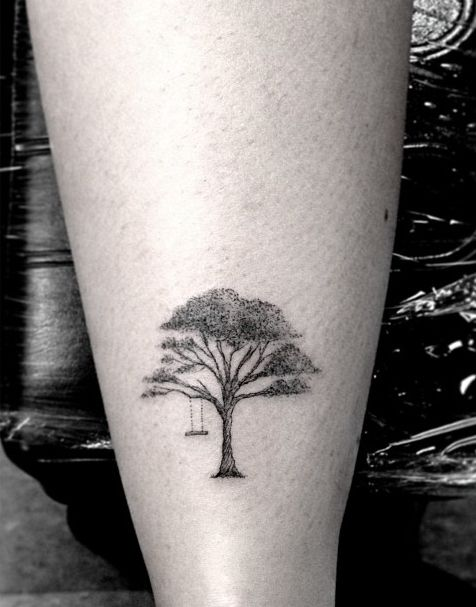 Wood, tree line tattoo on leg