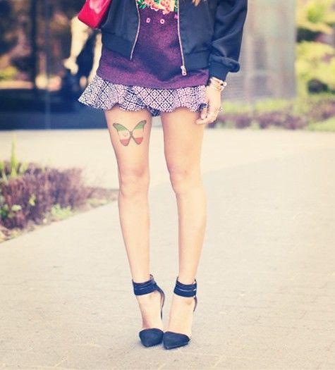 Butterflies tattoos on leg