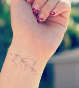 World black map tattoo on arm