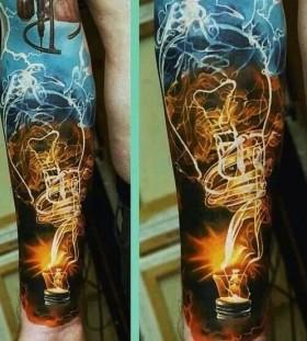 Yellow lamp tattoo by Dimitry Samohin