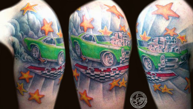 Yellow stars and green car tattoo on arm