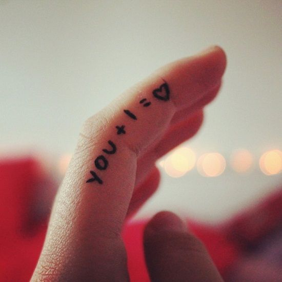 You + I =Love quote tattoo on finger