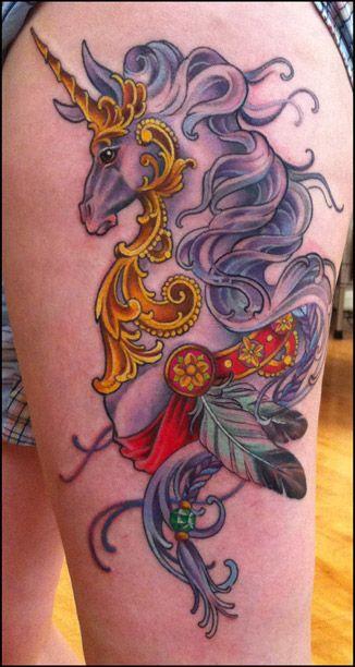 elegant unicorn tattoo on leg