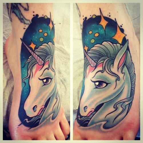 unicorn tatto on foot