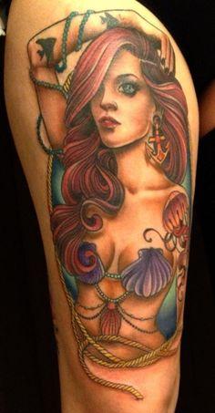 Adorable hair and mermaid tattoo