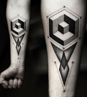Adorable simple geometric arm tattoo