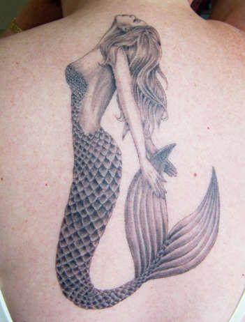 Amazing black mermaid tattoo