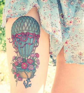 Amazing colorful girl's balloon tattoo