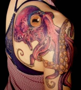 Amazing purple octopus tattoo on arm