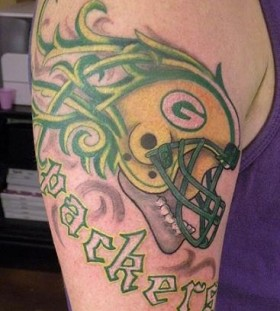 American football player green tattoo