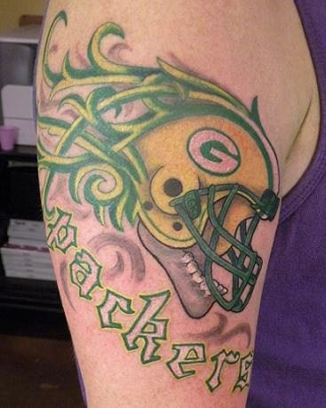 American football player green tattoo