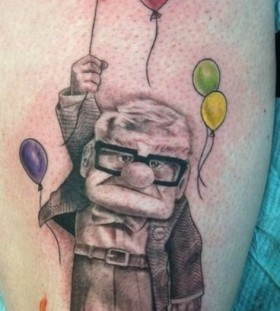 Angry old men with balloon tattoo