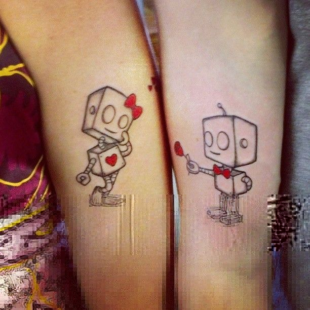 Awesome black robbot tattoo