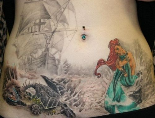 Awesome looking mermaid tattoo
