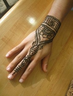 Big finger black Henna and Mehndi design tattoo
