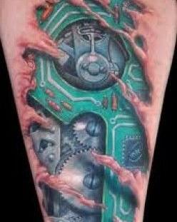 Bio mechanical style robbot tattoo