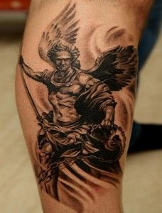 Black adorable angel tatoo on arm