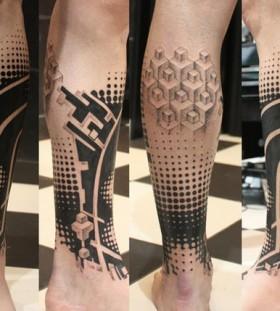 Black adorable geometric tattoo on leg