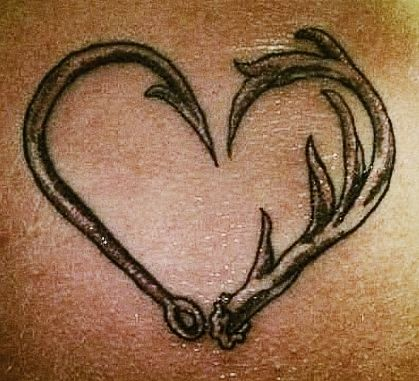 Black adorable heart fishing tattoo