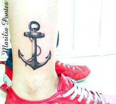 Black anchor tattoo by Marilia Pontes