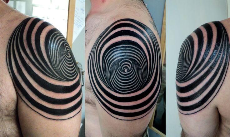 Black and white owals geometric shoulder, back tattoo