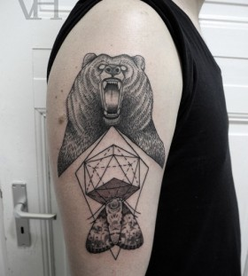 Black bear and geometric shoulder, back tattoo