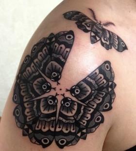 Black butterflies geometric shoulder, back tattoo