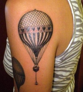 Black cute balloon tattoo