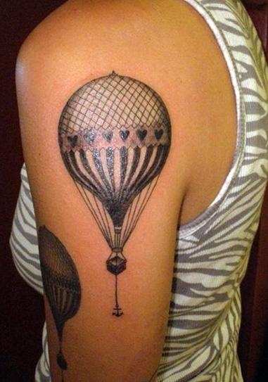 Black cute balloon tattoo