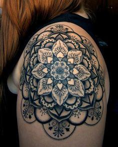 Black flowers geometric shoulder, back tattoo