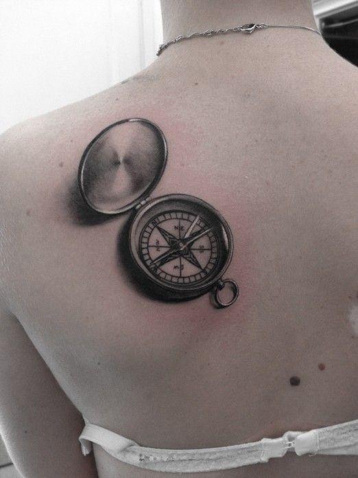 Black gorgeous compass tattoo on back - | TattooMagz › Tattoo ...