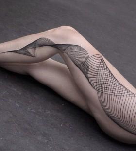 Black simple lines geometric tattoo on leg