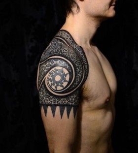 Black stars and men's geometric shoulder, back tattoo
