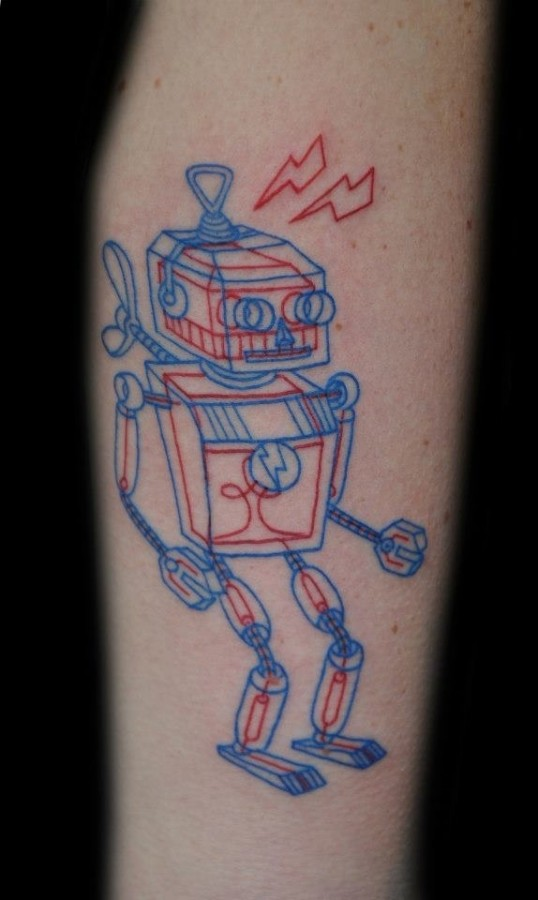 Blue and red robbot tattoo
