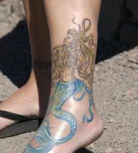 Blue foots mermaid tattoo