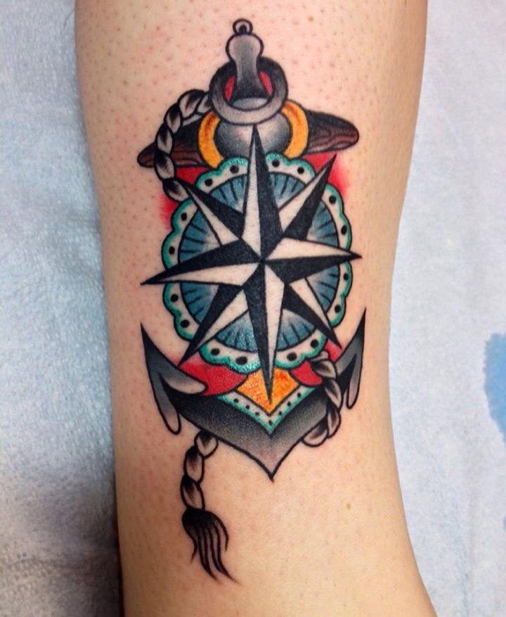 d6ea3e2f9 Blue lovely compass tattoo on leg - | TattooMagz › Tattoo Designs ...