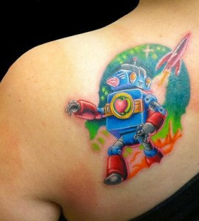 Bright blue style robbot tattoo