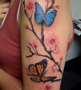 Butterflies lovely chinese style tattoo