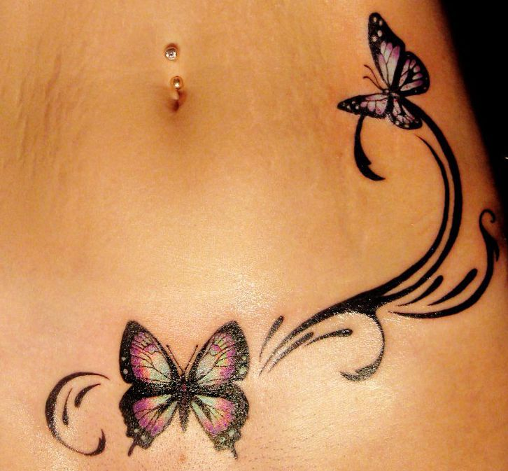 Butterfly and black girl tattoo on hip