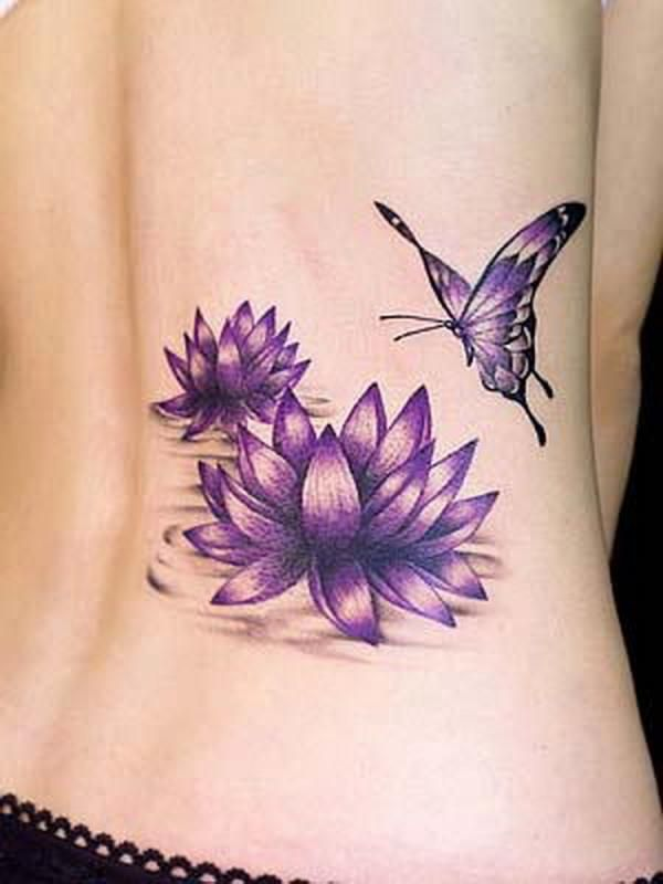 Butterfly, flower and purple tattoos