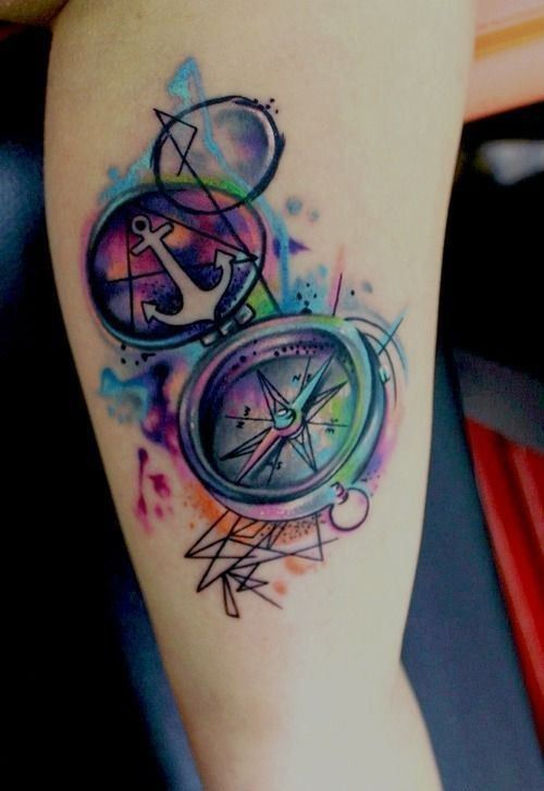 215f5de3b Colorful anchor compass tattoo on leg - | TattooMagz › Tattoo ...
