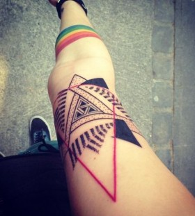 Colorful forms geometric tattoo on leg