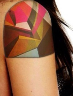 Colorful girl's geometric shoulder, back tattoo