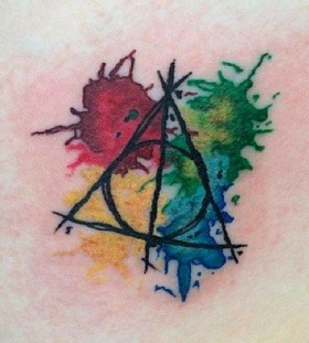 Colorful ornaments Harry Potter tattoo