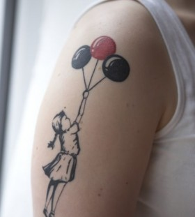 Cool girl and balloon tattoo