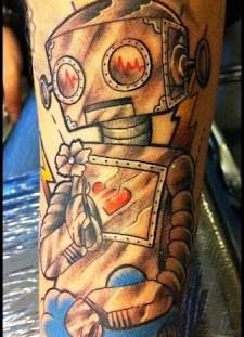 Creative black robbot tattoo