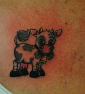 Cute blue cow tattoo